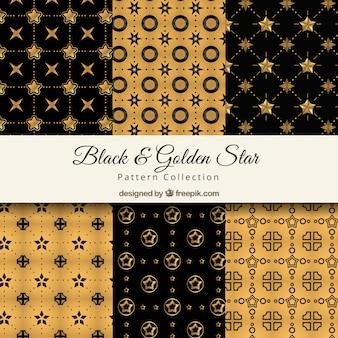 Черно-золотые узоры с блестящими звездами