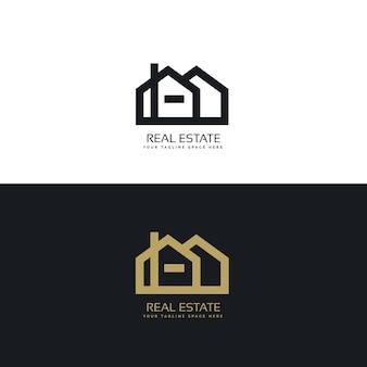 Чистый стиль линии недвижимости концепция дизайна логотипа