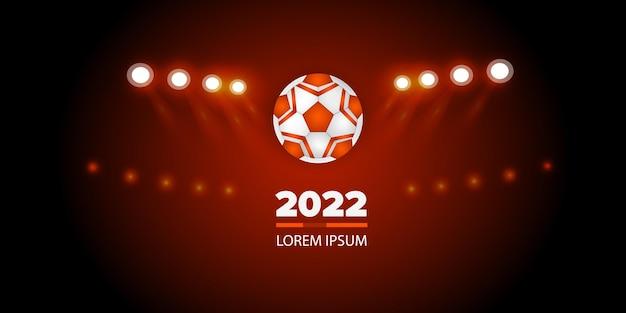 黒とオレンジ色のスポーツの背景サッカーボールとリボンの現実的なベクトル図
