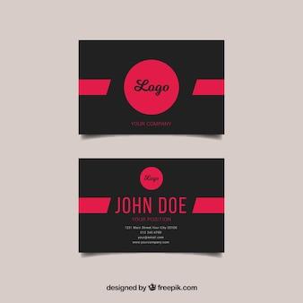 Черно-розовый шаблон визитной карточки