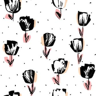 黒とピンクのロータス描画ベクトルシームレスパターン。バラの光の背景。夏のマーカーのイラスト。花の装飾的なデザイン。