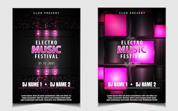 Черно-розовая ночная танцевальная вечеринка музыкальный флаер или дизайн плаката