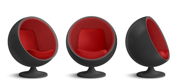 黒と赤のボールチェアセット