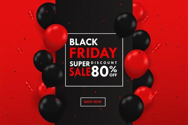 텍스트 상자 측면에 떠 다니는 검정과 빨강 풍선 blackfriday 특별 판매 축제.