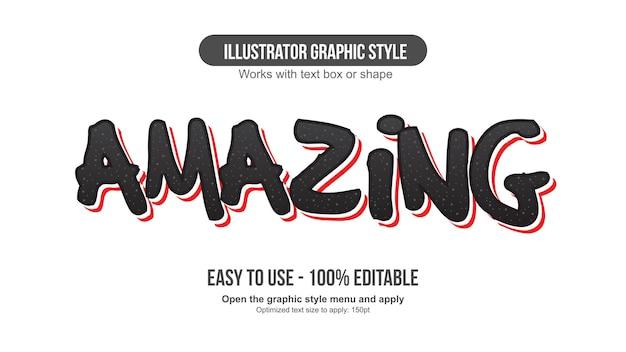 검은색과 빨간색 굵은 브러시 만화 편집 가능한 텍스트 효과