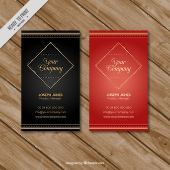 Black and red business cards with golden details