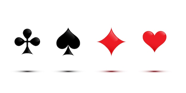 黒と赤のカードスーツは、白い背景で隔離