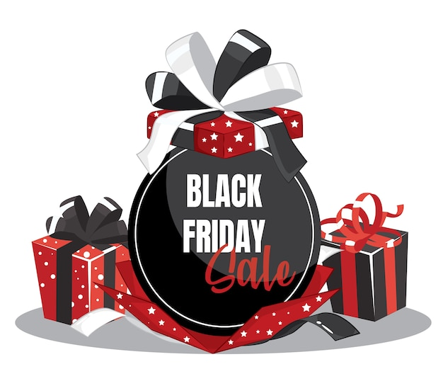 Черно-красная подарочная коробка с красным, черным, белым бантом и биркой продажи черной пятницы, изолированной на белом для дизайна продажи черной пятницы. иллюстрация