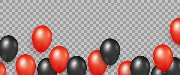 ブラックフライデーセールバナー用の黒と赤のリアルな光沢のある風船