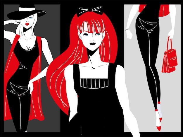 검은색과 빨간색 복고풍 패션 모델