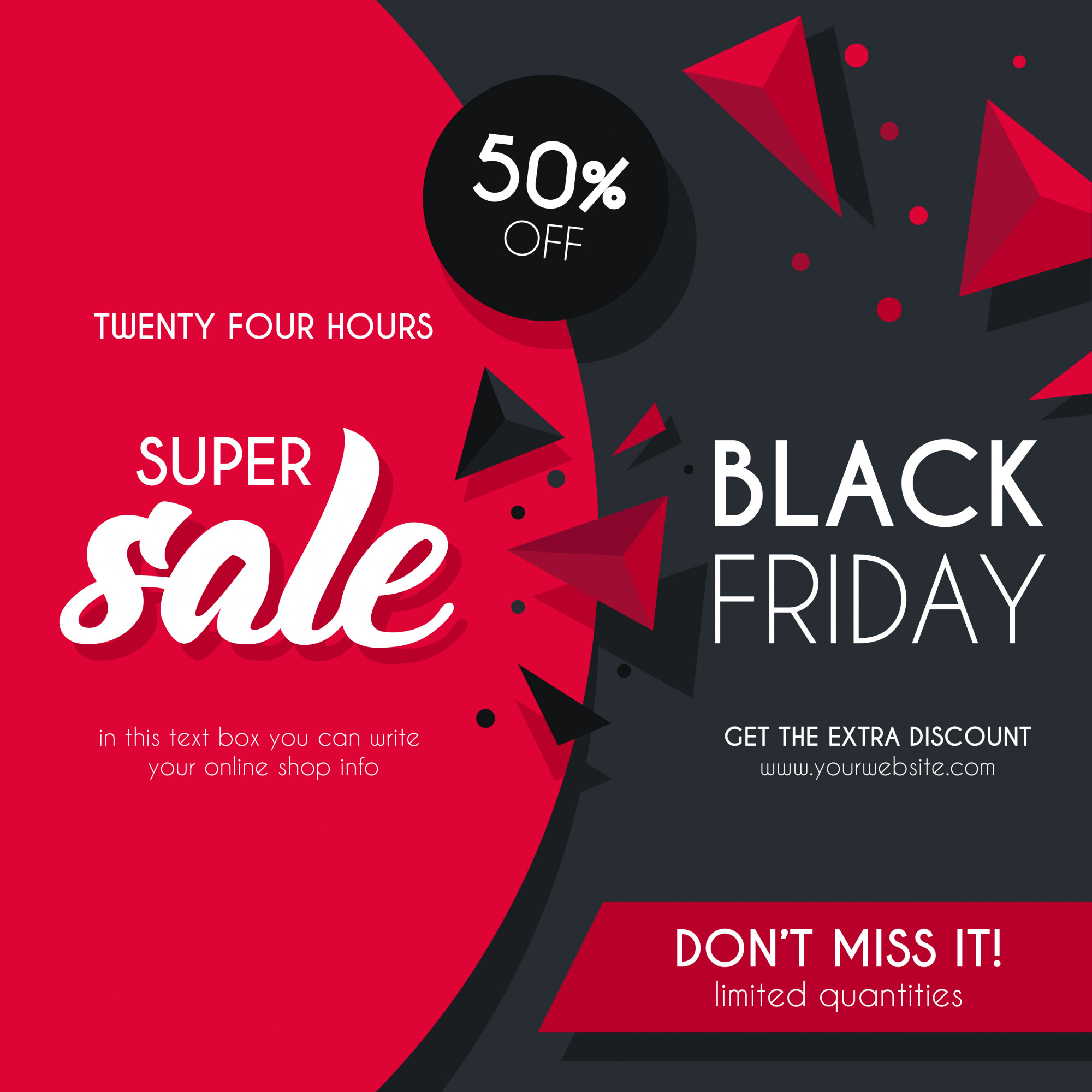 Black and Red Sale Background for Black Friday