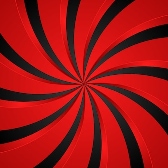 黒と赤のスパイラル渦放射状背景