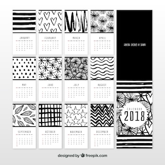 Black and white 2018 calendar