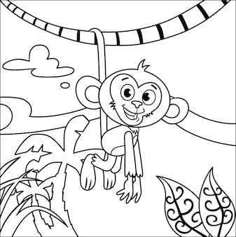 Черно-белая обезьяна, свисающая с бранча на дереве в джунглях