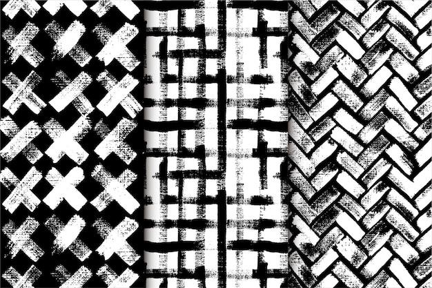 黒と白の抽象的な手描きのパターン