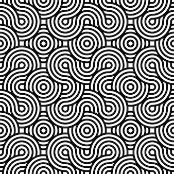 黒と白の抽象的な催眠シームレスパターン