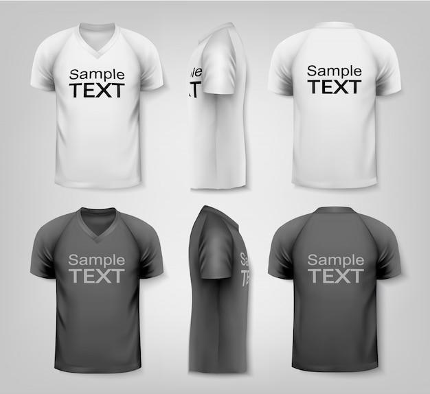 Черно-белые и цветные мужские футболки дизайн шаблона