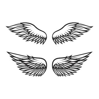 黒と白の天使の羽のベクトル