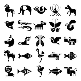 黒と白の動物アイコン