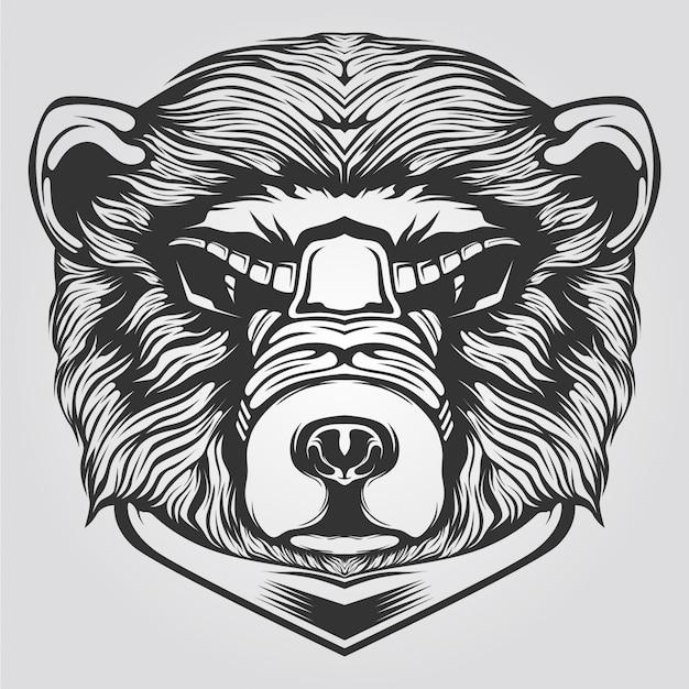 Tatto 또는 색칠하기 책에 대한 흑백 곰 라인 아트