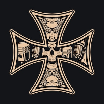 Черно-белый крест байкеров на темном фоне. идеально подходит для принтов на рубашках