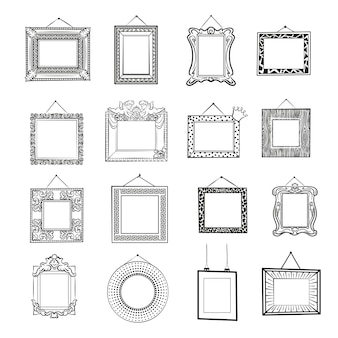 흑백 빈 그림 프레임입니다. 클래식, 현대 및 빈티지 빈 프레임입니다. 라인 아트 세트입니다.