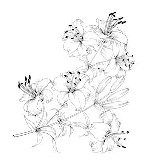 黒と白の花束ユリ組成。