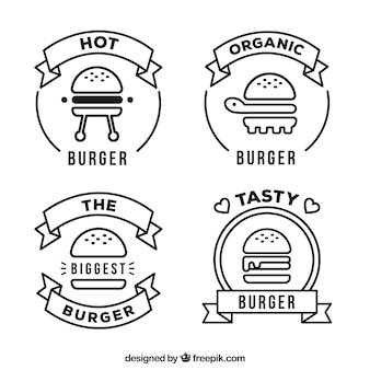 黒と白のハンバーガーロゴコレクション