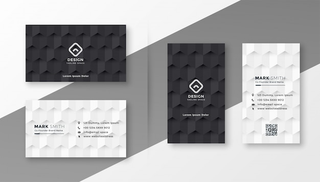 Черно-белый шаблон визитной карточки