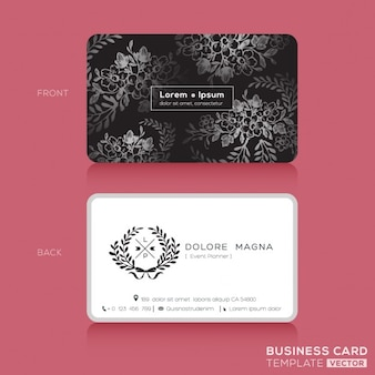 Черный цветочный урожай элегантный дизайн визитных карточек шаблон