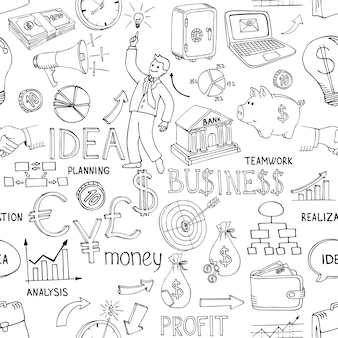 黒と白のビジネスは、ランダムなベクトルデザインに散在するお金の分析チャートのアイデアと戦略を描いたさまざまなアイコンでシームレスなパターンを落書き