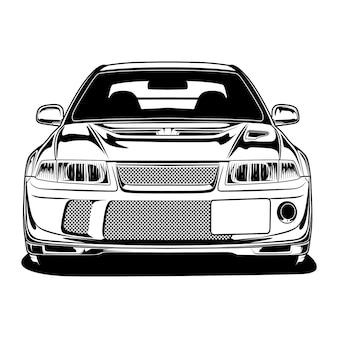 黒と白の車のイラスト