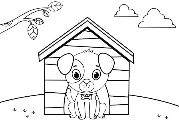 絵画活動ベクトルイラストの黒と白の漫画の犬のキャラクター