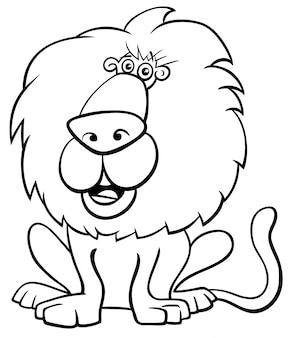面白いライオン野生の白黒漫画のイラスト
