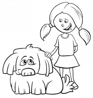 Черно-белая мультяшная иллюстрация девочки-мальчика с забавной лохматой собакой раскраски
