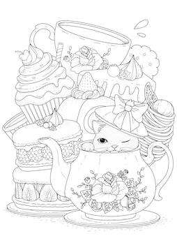 Черно-белый кот с выпечкой и чаем, для окраски
