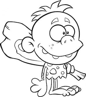 Черно-белый пещерный ребенок мультипликационный персонаж с клубом. иллюстрация, изолированные на белом