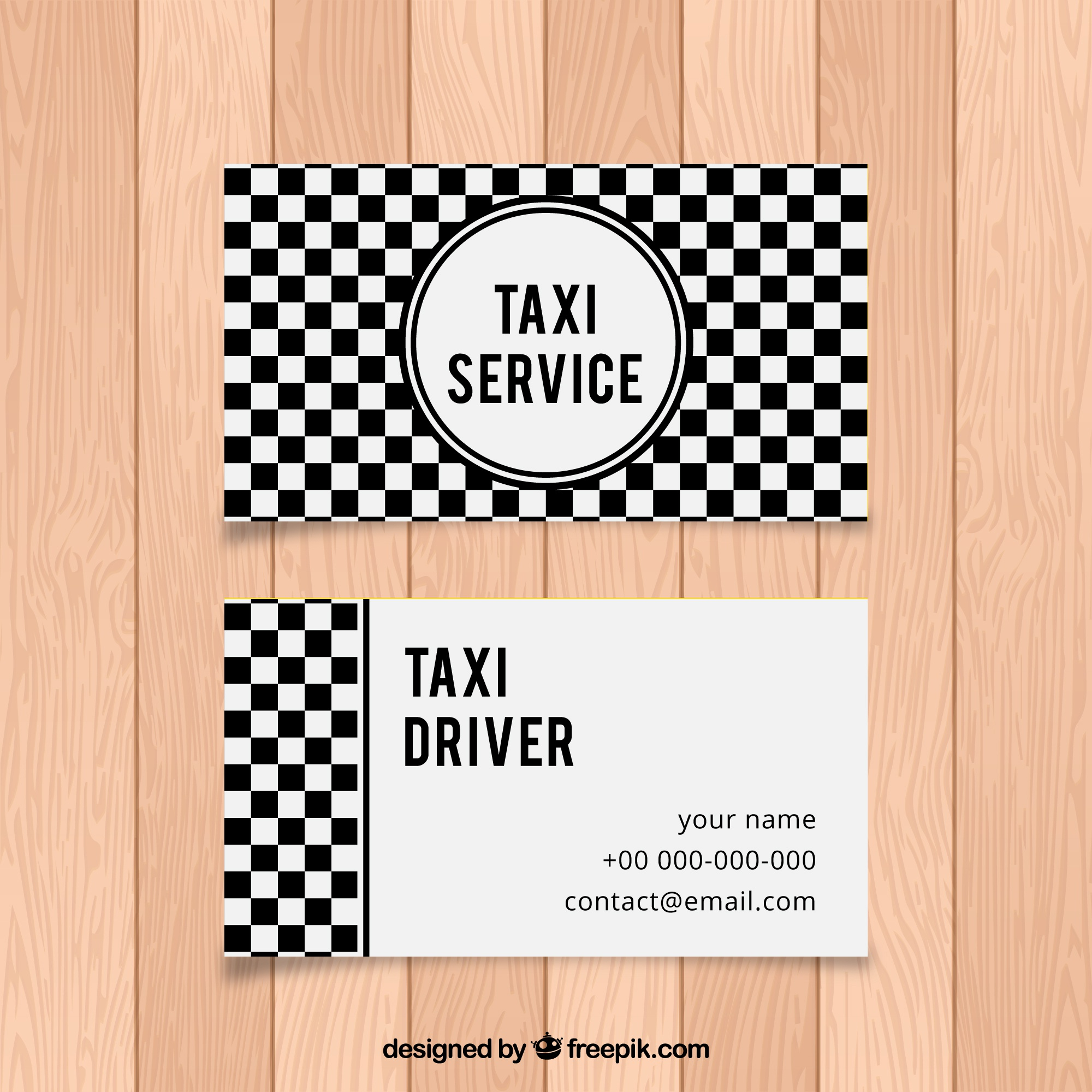 Black and white checkered abstract card of taxi driver
