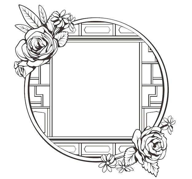 花と黒と白の中国のウィンドウフレーム