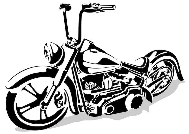 黒と白のチョッパーオートバイの図面