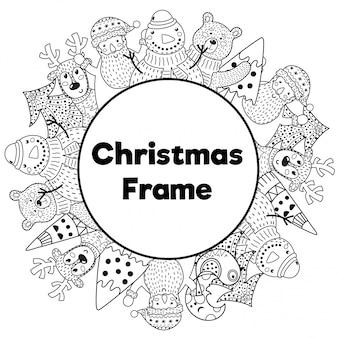 Черно-белая новогодняя рамка в стиле раскраски
