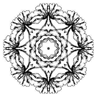 白と黒の円形の花柄。円形の装飾模様、モザイク手描きのベクトル