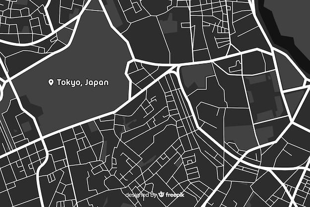 黒と白の都市地図デザイン