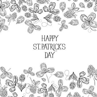 聖パトリックの日についてのテキストの周りに多くのシンボルオブジェクトが付いた黒と白の色のスケッチ構成グリーティングカード