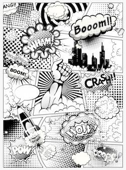 黒と白の漫画本のページは、吹き出し、ロケット、スーパーヒーローの手と効果音のある行で分割されています。図