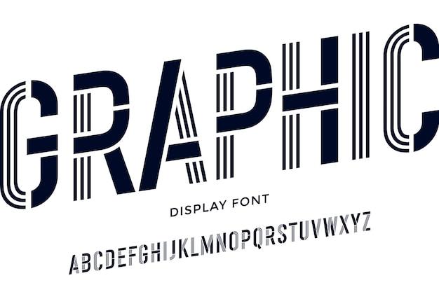 黒と白の凝縮されたアルファベットと線のフォント。ステンシルフォント。黒と白の凝縮されたアルファベットと線のフォント