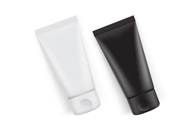 Упаковка черно-белых кремовых тюбиков на белом фоне