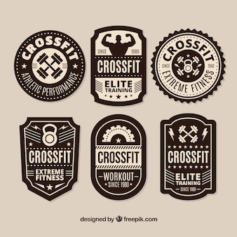 Black and white crossfit lable collection