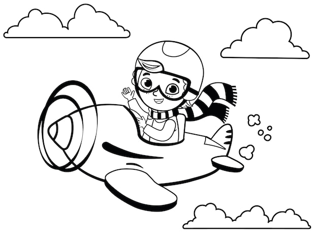 黒と白のかわいい男の子パイロットが飛行機で飛ぶ漫画のベクトル図