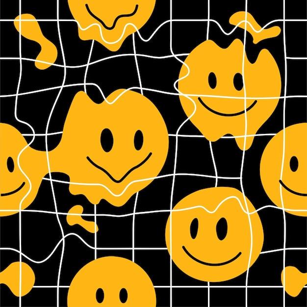 黒と白の歪んだグリッドと溶ける笑顔。ベクトルイラスト。 defornグリッド、歪み、テクノ、カバー、tシャツ、ポスター、ステッカーの壁紙の概念のための笑顔のトレンディなプリント